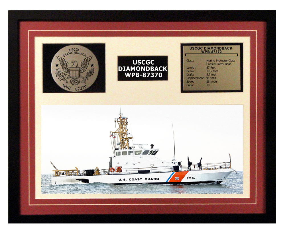USCGC Diamondback WPB-87370 Framed Coast Guard Ship Display Burgundy