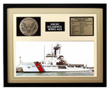 USCGC Diligence WMEC-616 Framed Coast Guard Ship Display Brown