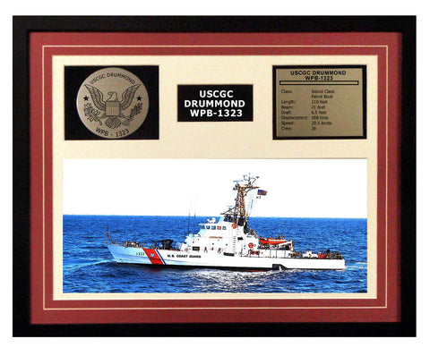 USCGC Drummond WPB-1323 Framed Coast Guard Ship Display Burgundy