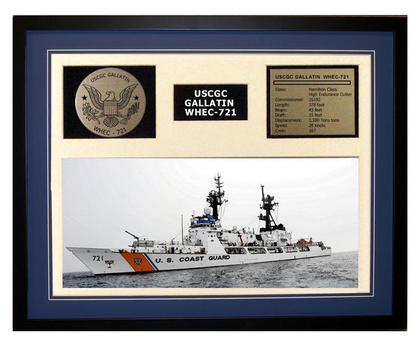 USCGC Gallatin WHEC-721 Framed Coast Guard Ship Display Blue