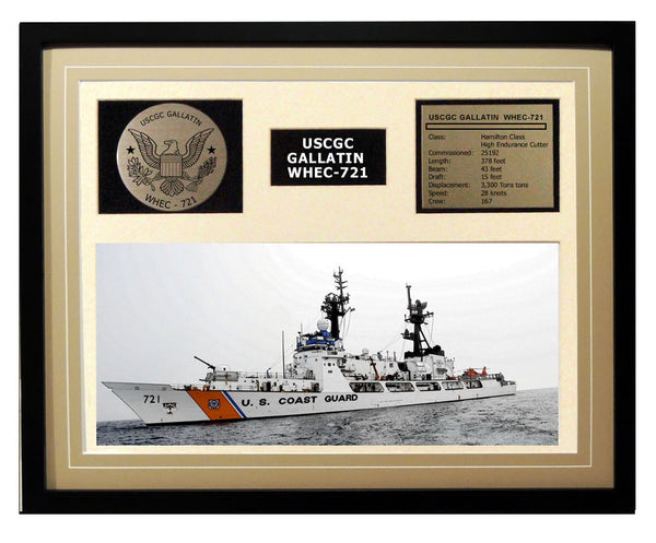 USCGC Gallatin WHEC-721 Framed Coast Guard Ship Display Brown