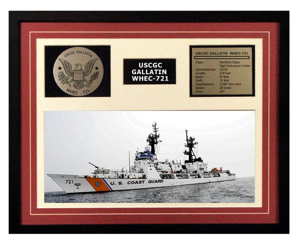 USCGC Gallatin WHEC-721 Framed Coast Guard Ship Display Burgundy