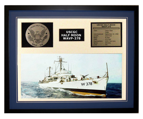 USCGC Half Moon WAVP-378 Framed Coast Guard Ship Display Blue