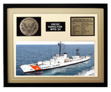 USCGC Hamilton WPG-34 Framed Coast Guard Ship Display Brown
