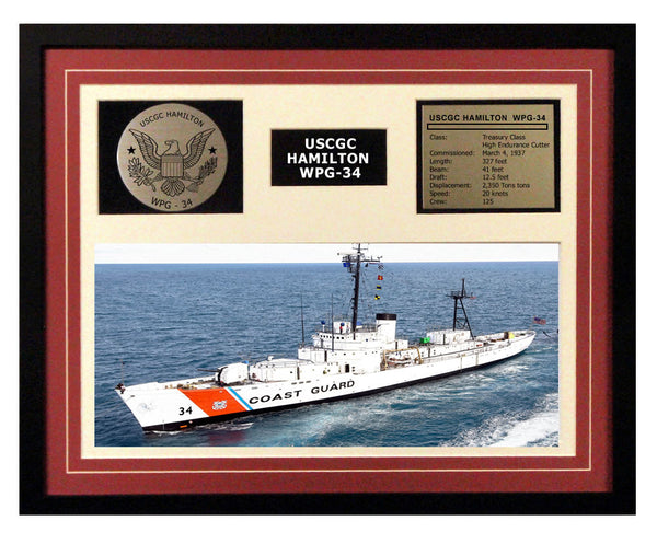 USCGC Hamilton WPG-34 Framed Coast Guard Ship Display Burgundy