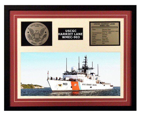 USCGC Harriet Lane WMEC-903 Framed Coast Guard Ship Display Burgundy
