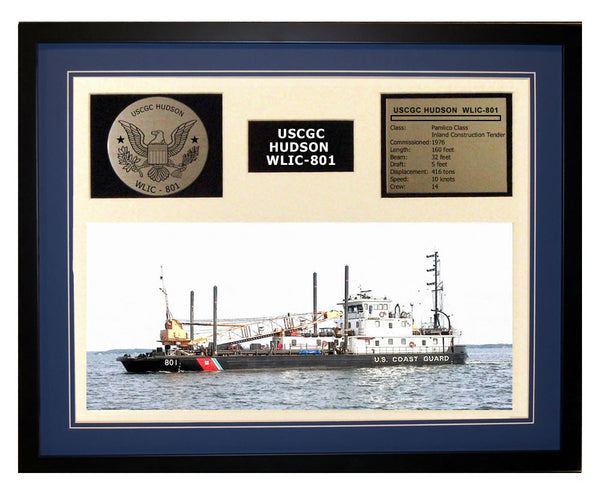 USCGC Hudson WLIC-801 Framed Coast Guard Ship Display Blue