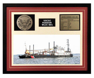USCGC Hudson WLIC-801 Framed Coast Guard Ship Display Burgundy
