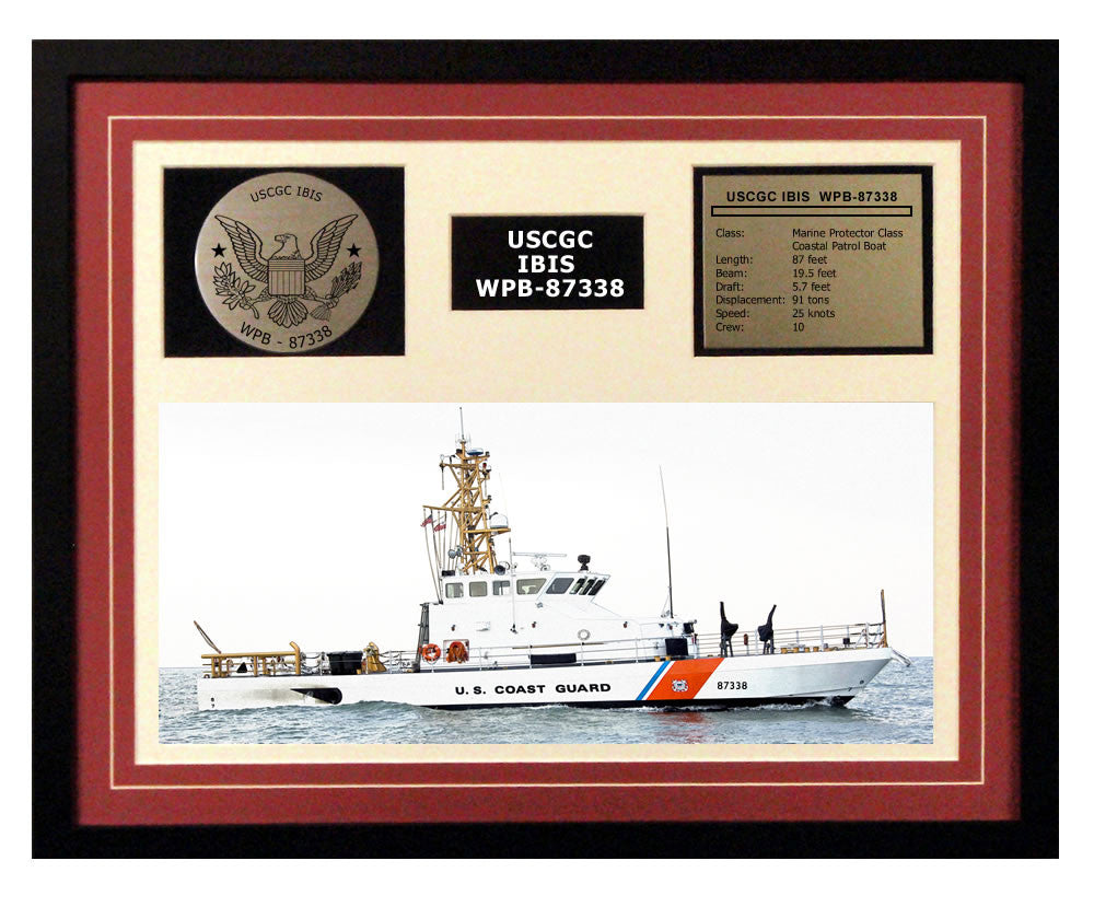 USCGC Ibis WPB-87338 Framed Coast Guard Ship Display Burgundy