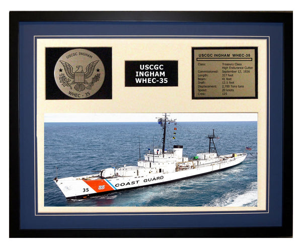 USCGC Ingham WHEC-35 Framed Coast Guard Ship Display Blue