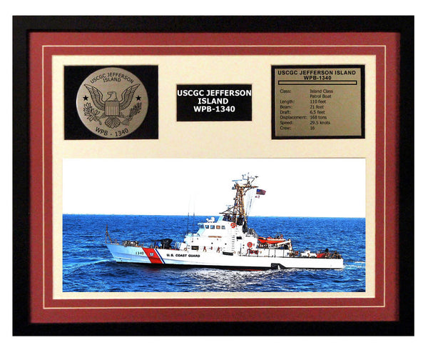 USCGC Jefferson Island WPB-1340 Framed Coast Guard Ship Display Burgundy