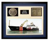 USCGC Juniper WLB-201 Framed Coast Guard Ship Display Blue