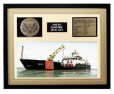 USCGC Juniper WLB-201 Framed Coast Guard Ship Display Brown