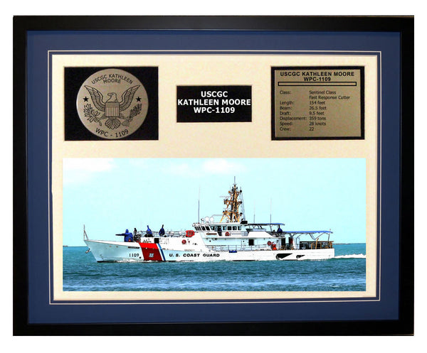 USCGC Kathleen Moore WPC-1109 Framed Coast Guard Ship Display Blue