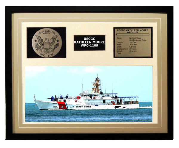USCGC Kathleen Moore WPC-1109 Framed Coast Guard Ship Display Brown