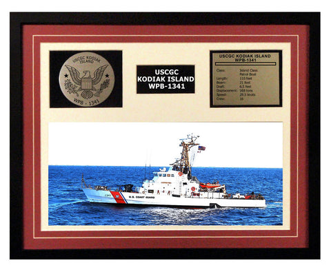 USCGC Kodiak Island WPB-1341 Framed Coast Guard Ship Display Burgundy