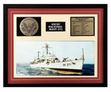 USCGC Mackinac WAVP-371 Framed Coast Guard Ship Display Burgundy