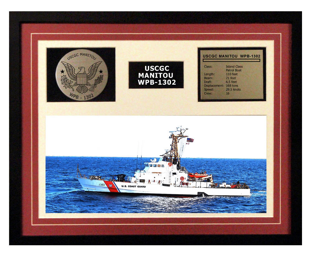 USCGC Manitou WPB-1302 Framed Coast Guard Ship Display Burgundy