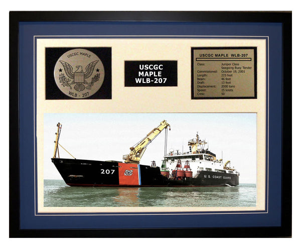 USCGC Maple WLB-207 Framed Coast Guard Ship Display Blue