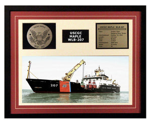USCGC Maple WLB-207 Framed Coast Guard Ship Display Burgundy