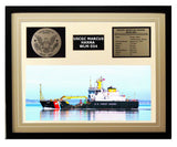 USCGC Marcus Hanna WLM-554 Framed Coast Guard Ship Display Brown