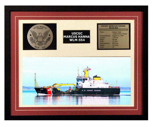 USCGC Marcus Hanna WLM-554 Framed Coast Guard Ship Display Burgundy
