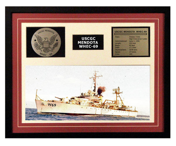 USCGC Mendota WHEC-69 Framed Coast Guard Ship Display