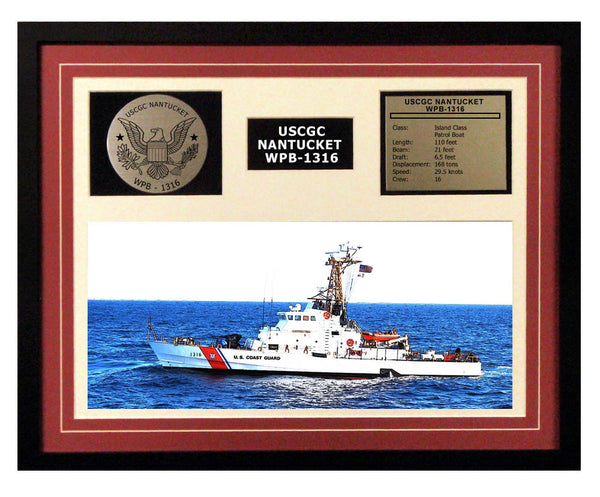 USCGC Nantucket WPB-1316 Framed Coast Guard Ship Display Burgundy