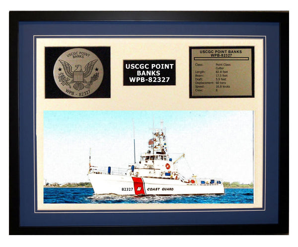USCGC Point Banks WPB-82327 Framed Coast Guard Ship Display Blue