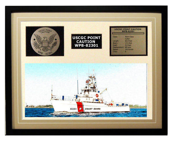USCGC Point Caution WPB-82301 Framed Coast Guard Ship Display Brown