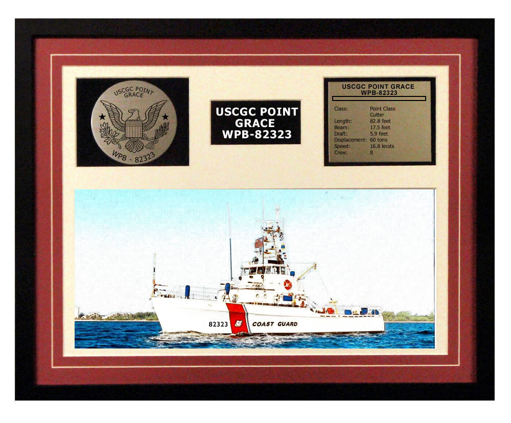 USCGC Point Grace WPB-82323 Framed Coast Guard Ship Display Burgundy
