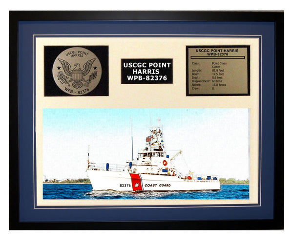 USCGC Point Harris WPB-82376 Framed Coast Guard Ship Display Blue