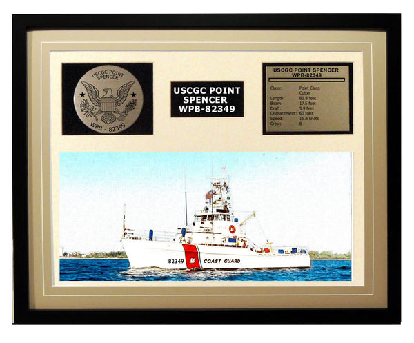 USCGC Point Spencer WPB-82349 Framed Coast Guard Ship Display Brown