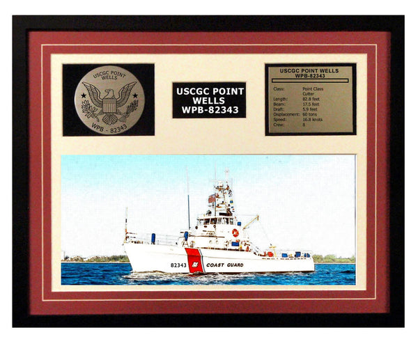 USCGC Point Wells WPB-82343 Framed Coast Guard Ship Display Burgundy