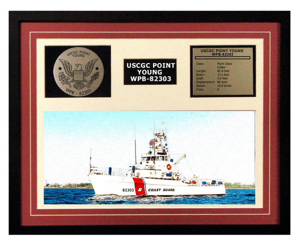 USCGC Point Young WPB-82303 Framed Coast Guard Ship Display Burgundy