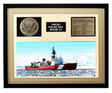 USCGC Polar Sea WAGB-11 Framed Coast Guard Ship Display Brown