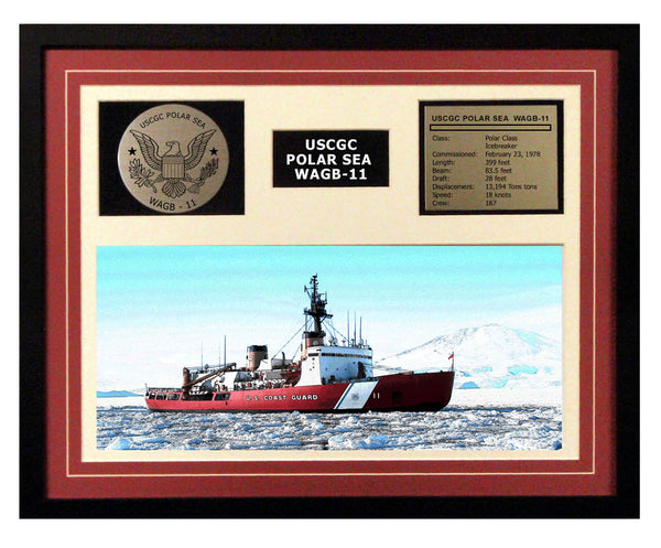 USCGC Polar Sea WAGB-11 Framed Coast Guard Ship Display Burgundy