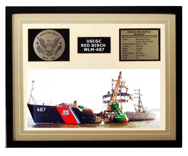 USCGC Red Birch WLM-687 Framed Coast Guard Ship Display Brown