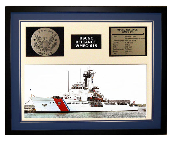 USCGC Reliance WMEC-615 Framed Coast Guard Ship Display Blue