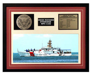 USCGC Richard Etheridge WPC-1102 Framed Coast Guard Ship Display Burgundy