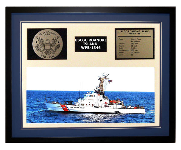 USCGC Roanoke Island WPB-1346 Framed Coast Guard Ship Display Blue
