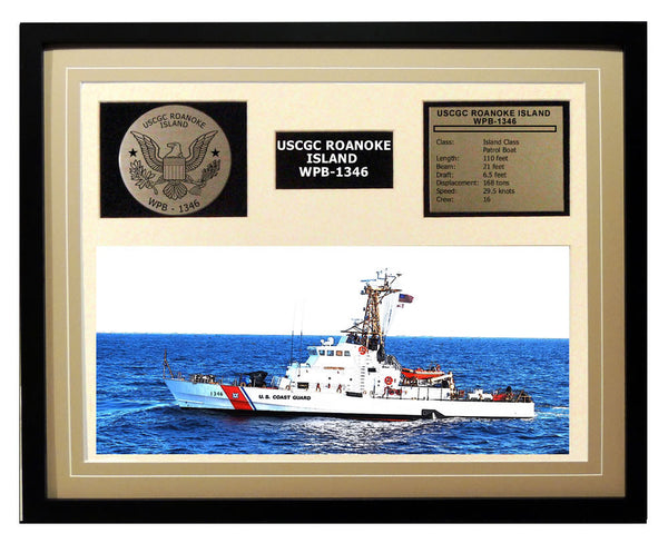 USCGC Roanoke Island WPB-1346 Framed Coast Guard Ship Display Brown