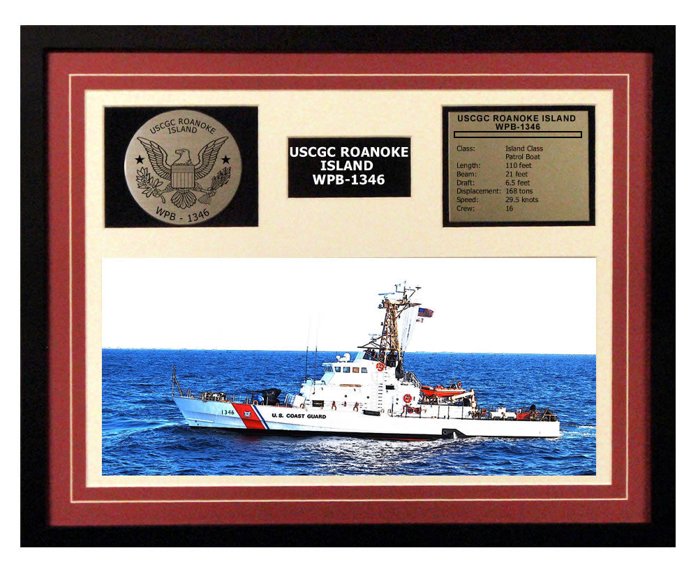 USCGC Roanoke Island WPB-1346 Framed Coast Guard Ship Display Burgundy