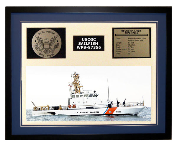 USCGC Sailfish WPB-87356 Framed Coast Guard Ship Display Blue