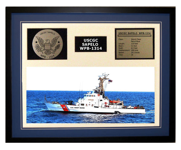USCGC Sapelo WPB-1314 Framed Coast Guard Ship Display Blue