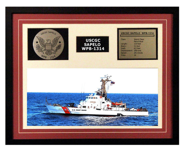 USCGC Sapelo WPB-1314 Framed Coast Guard Ship Display Burgundy
