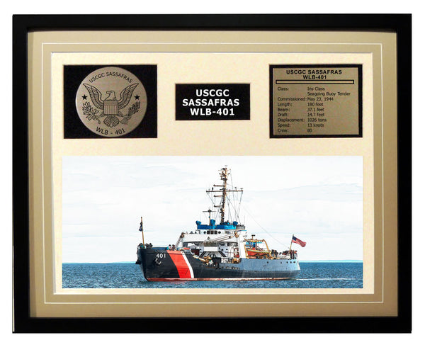 USCGC Sassafras WLB-401 Framed Coast Guard Ship Display Brown