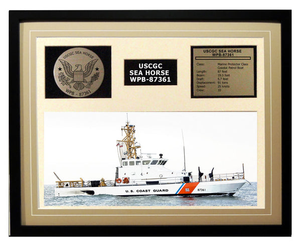 USCGC Sea Horse WPB-87361 Framed Coast Guard Ship Display Brown