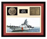 USCGC Shamal WPC-13 Framed Coast Guard Ship Display Burgundy