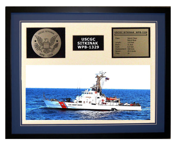 USCGC Sitkinak WPB-1329 Framed Coast Guard Ship Display Blue